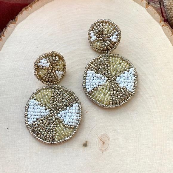 NEW Anthropologie Beaded Circle Drop Earrings